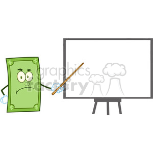 6857_Royalty_Free_Clip_Art_Angry_Dollar_Cartoon_Character_With_Pointer_Presenting_On_A_Board clipart. Royalty-free image # 393123