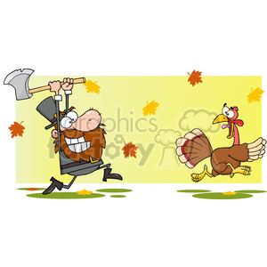 turkey thanksgiving bird cartoon running hunting chasing axe dinner