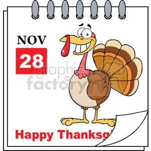 Royalty Free RF Clipart Illustration Thanksgiving Holiday Calendar With Cartoon Turkey clipart. Royalty-free image # 393155