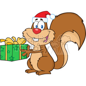 Royalty Free RF Clipart Illustration Happy Squirrel With Santa Hat Holding A Gift clipart. Commercial use image # 393165