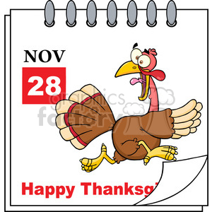Royalty Free RF Clipart Illustration Thanksgiving Holiday Calendar With Cartoon Turkey Escape clipart. Royalty-free image # 393175