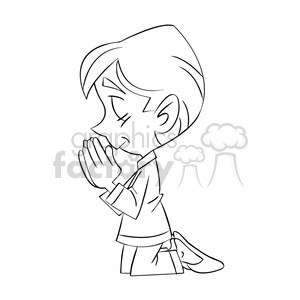 nino rezando black and white clipart. Commercial use image # 393317