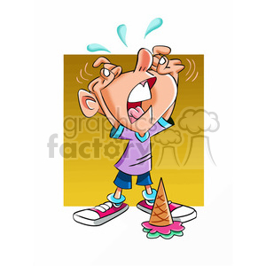 kid crying over his dropped ice cream cone clipart. Royalty-free image # 393353