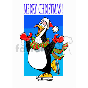 penguin ice skating cartoon clipart. Royalty-free image # 393363