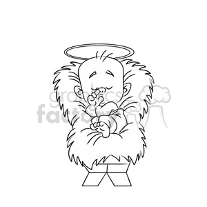 merry christmas baby jesus cartoon black white clipart. Commercial use image # 393403