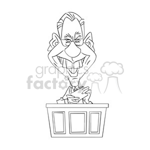 david letterman celebrity cartoon character black white clipart. Commercial use image # 393451