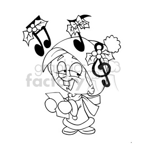 black white christmas caroler