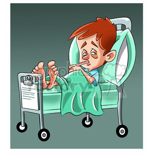 child sick in hospital bed clipart. Commercial use image # 393491