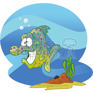 cartoon character funny fish tropical water comical