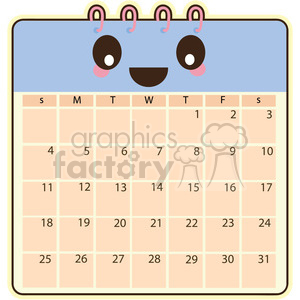 Calendar cartoon character clipart. Royalty-free image # 393541