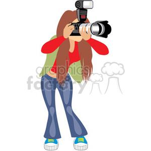 girl taking photos clipart. Commercial use image # 393662