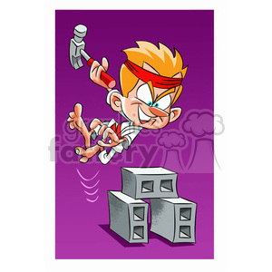 vector cartoon karate kid clipart. Commercial use image # 393732