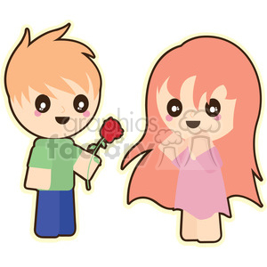 cartoon character characters funny cute love people rose Valentines boy girl relationship