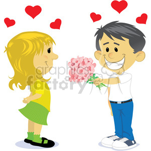 Girl and boys dating cartoon