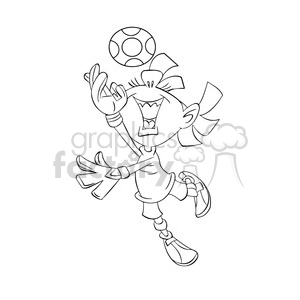 black and white image of girl playing soccer portera de futbol negro clipart. Royalty-free image # 393962