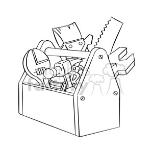 black and white image of tool box herramientas de carpinteria negro clipart. Royalty-free image # 394012