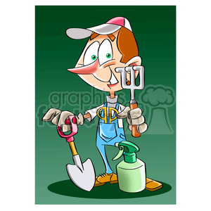 cartoon landscaper clipart. Commercial use image # 394032