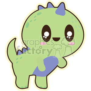 cartoon character cute funny fun happy dinosaur baby green triceratop triceratops
