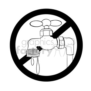 no water usage allowed sign in black and white clipart. Commercial use image # 394212