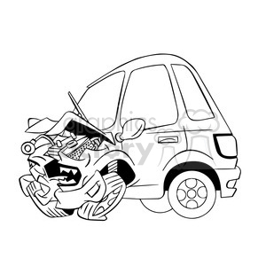 cartoon car sick from accident black and white clipart. Royalty-free image # 394293