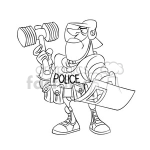 militarized police in black and white clipart. Commercial use image # 394303