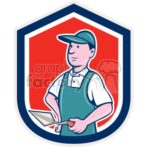 man construction worker logo mascot brick+layer