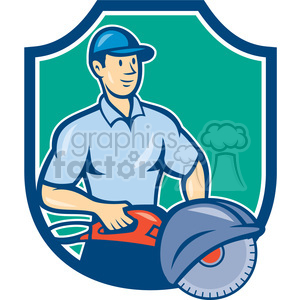concrete sawing drilling worker SHIELD clipart. Commercial use image # 394343