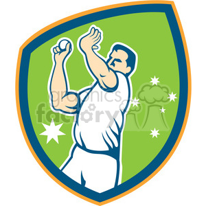 AUSSIE cricketplayer bowling front SHIELD clipart. Royalty-free image # 394353