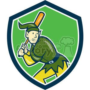 elf batting stance side front SHIELD clipart. Royalty-free image # 394383