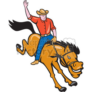 rodeo cowboy riding bucking bronco ISO clipart. Royalty-free image # 394393