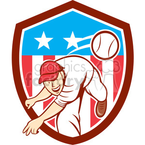 baseball pitcher throwing ball USA FLAG SHIELD