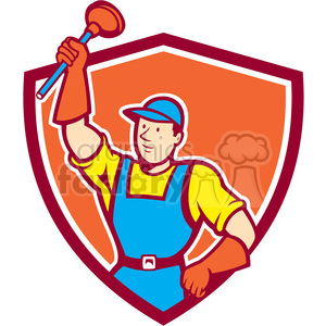 plumber plunger raise SHIELD clipart. Commercial use image # 394423