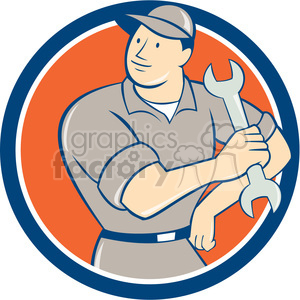 Mechanic hold spanner arm hip CIRC clipart. Royalty-free image # 394433