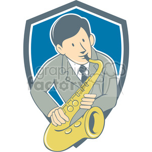 musician playing saxophone SHIELD clipart. Royalty-free image # 394453