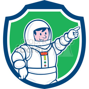 astronaut pointing front SHIELD clipart. Royalty-free image # 394483