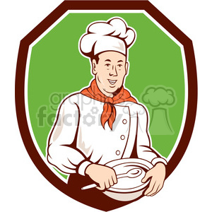 chef holding spoon and bowl front SHIELD clipart. Royalty-free image # 394493