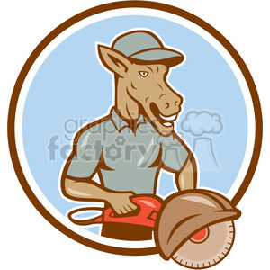 donkey concrete sawing drilling worker CIRC clipart. Commercial use image # 394543