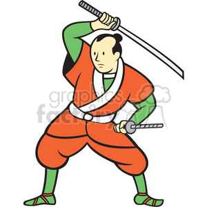 samurai warrior wielding sword ISO clipart. Royalty-free image # 394553
