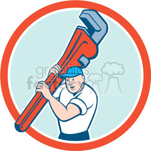 plumber carry wrench front CIRC clipart. Commercial use image # 394573