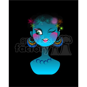 Neon Girl on black clipart. Commercial use image # 394613