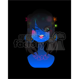 Neon girl long hair clipart. Commercial use image # 394623