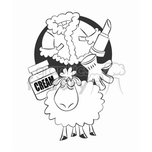 sheep thinking about the meaning of life black and white clipart. Commercial use image # 394683