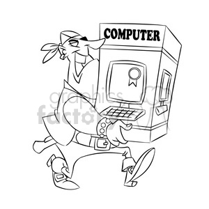 pirate carrying a computer black and white clipart. Royalty-free image # 394743