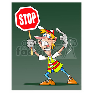 cartoon stop construction worker detour man excited