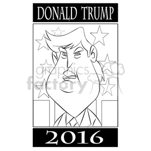 donald trump 2016 election for president black and white clipart. Royalty-free image # 394773