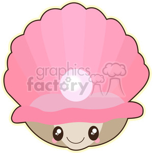 Clam with Pearl cartoon character vector image clipart. Royalty-free image # 394916