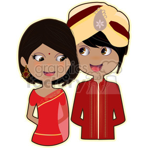 Indian Bride and Groom cartoon character vector image clipart. Commercial use image # 394936