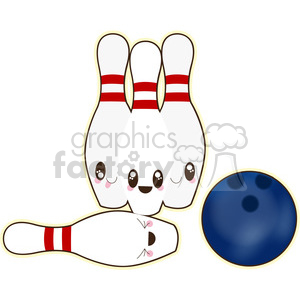 Ten Pin Bowling cartoon character vector image clipart. Commercial use image # 394946