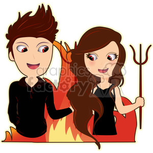 Devil Pair toxic relationship cartoon character vector image clipart. Royalty-free image # 394966
