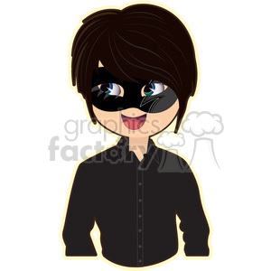Masquerade Boy cartoon character vector image clipart. Commercial use image # 394976